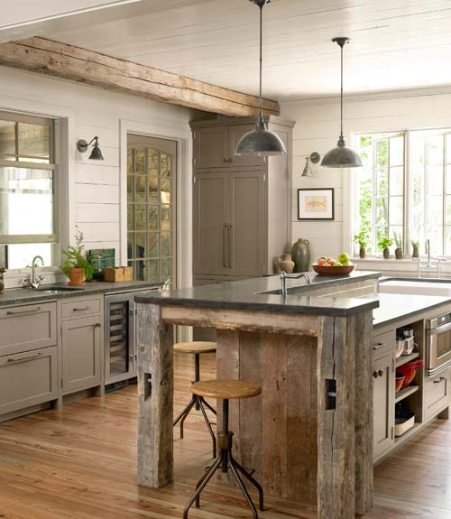 Rustic Industrial Light Steel And Barn Wood Vanity Light: Eye Candy Friday: Rustic Glam Kitchens