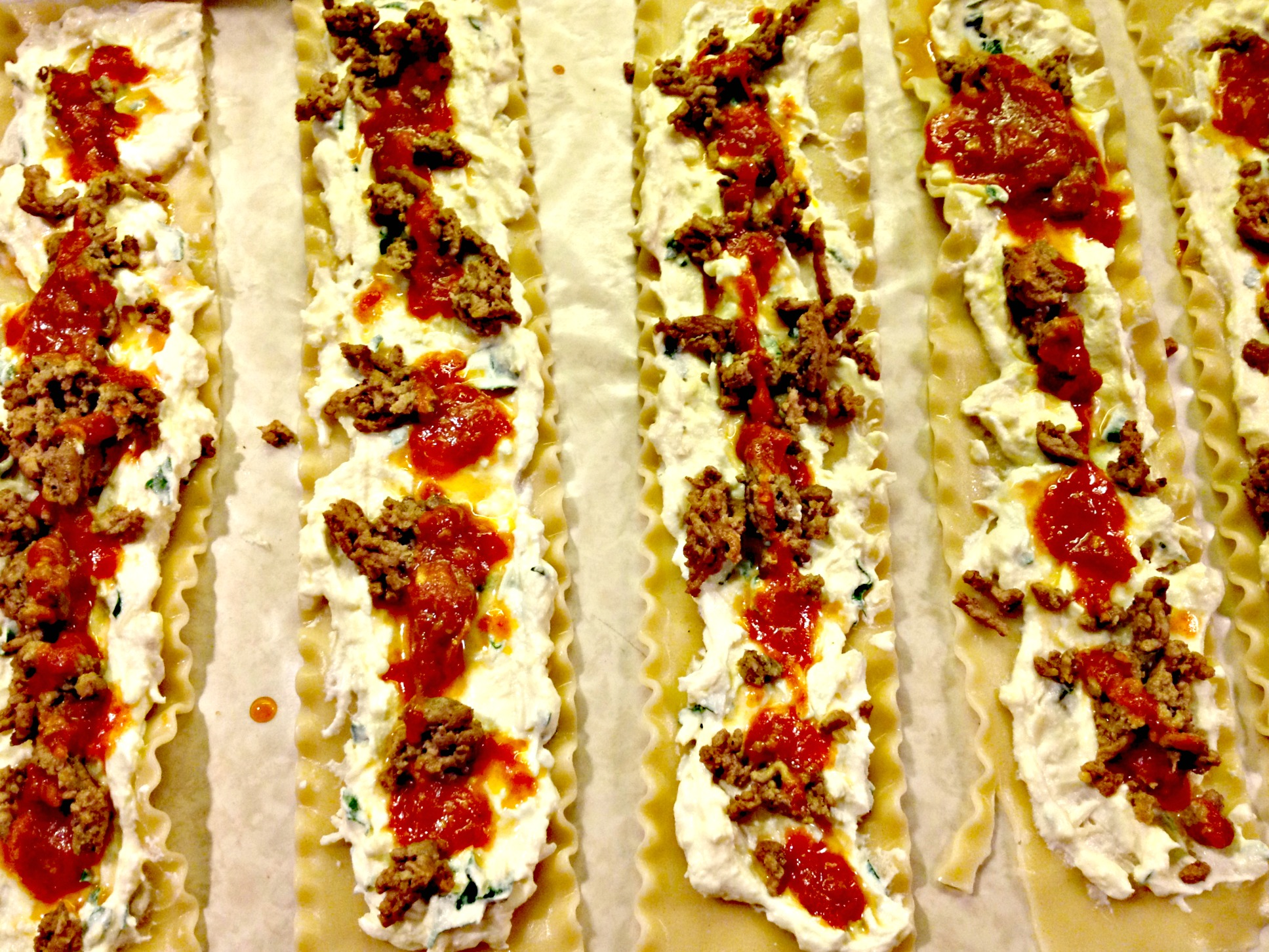 Beef and Spinach Lasagna Roll-Ups..