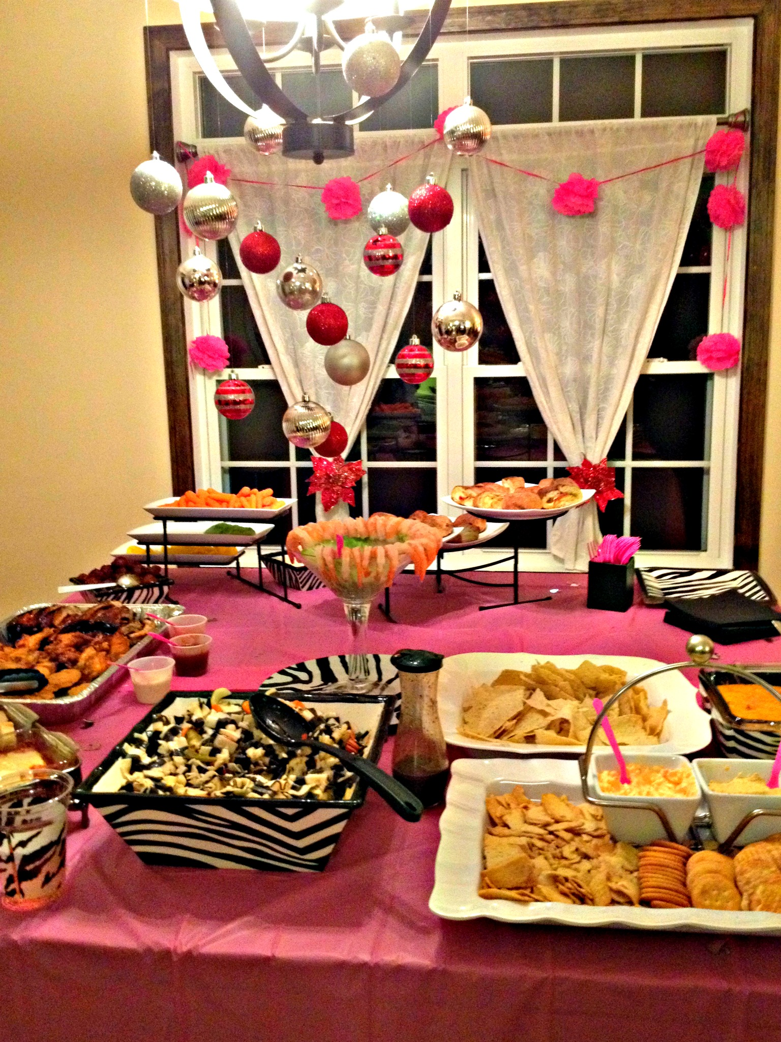 pink and zebra party buffet table