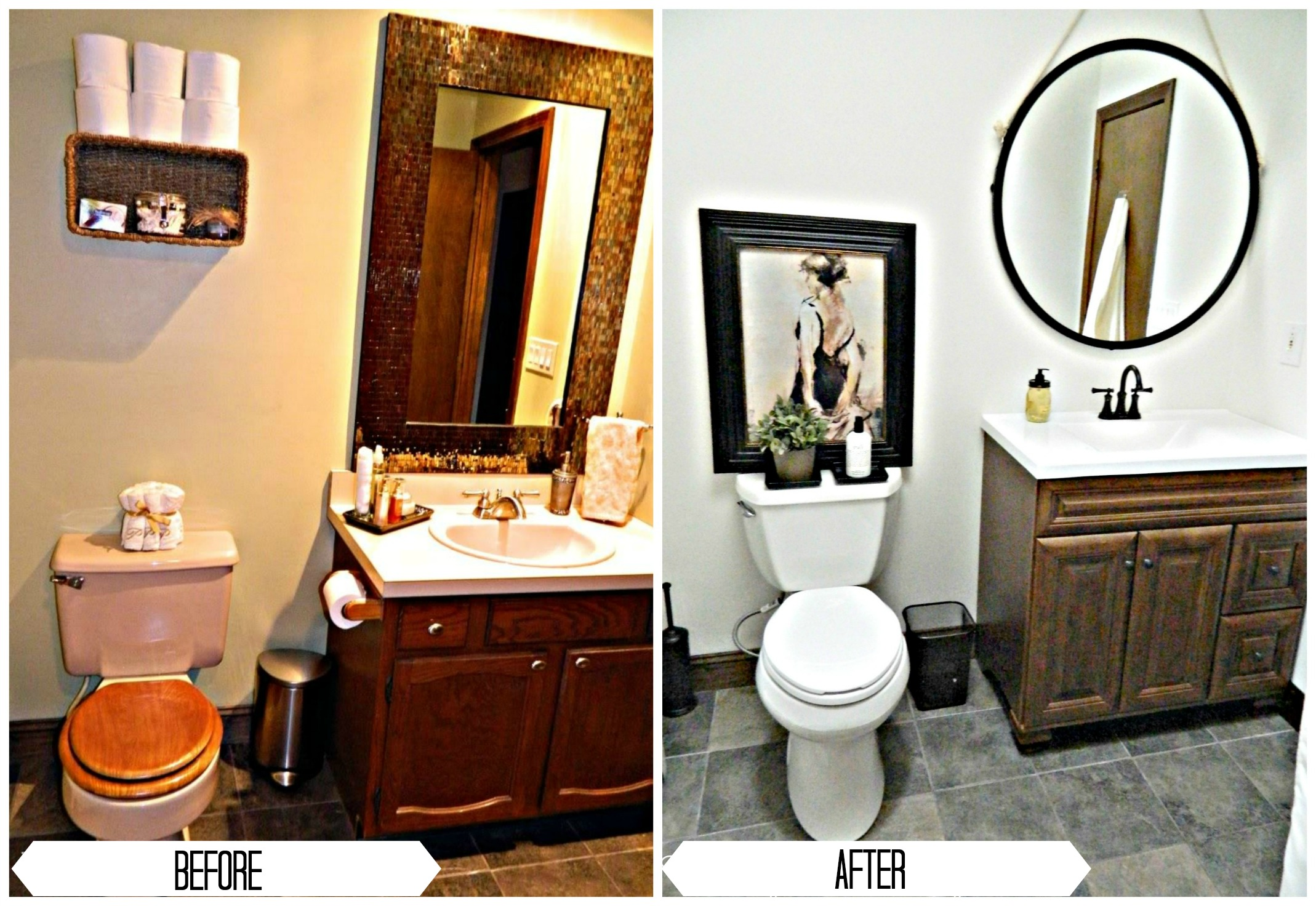 before and after bathroom renovation at