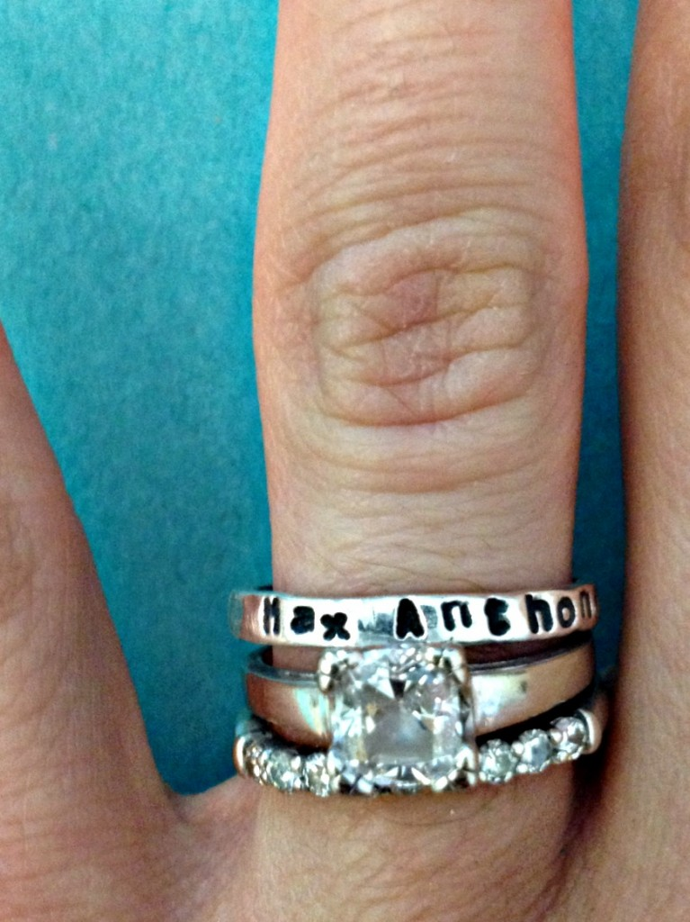 Stackable rings with kid's names on them.  Perfect mother's day gift.  18 bucks each.