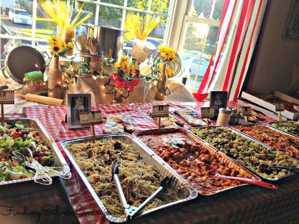 Italian themed party food setup