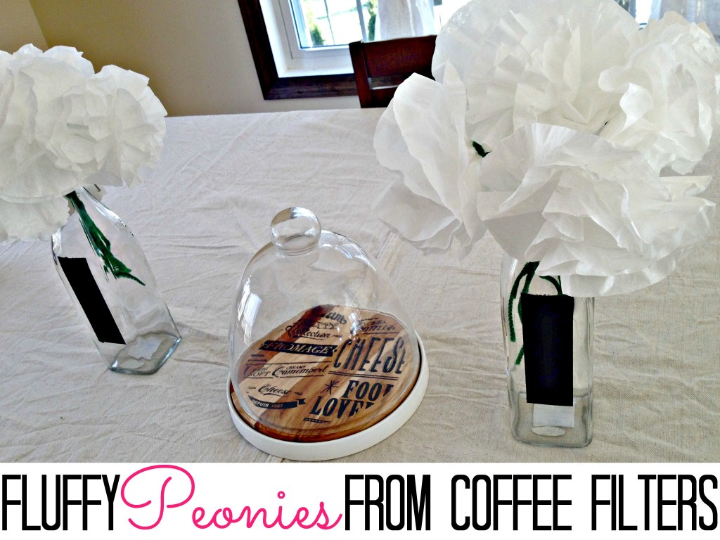 Make fluffy peonies from coffee filters.  Too easy.  So pretty!