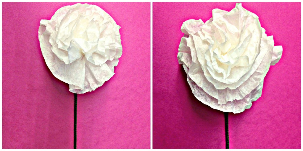 Simple fluffy peonies made from coffee filters