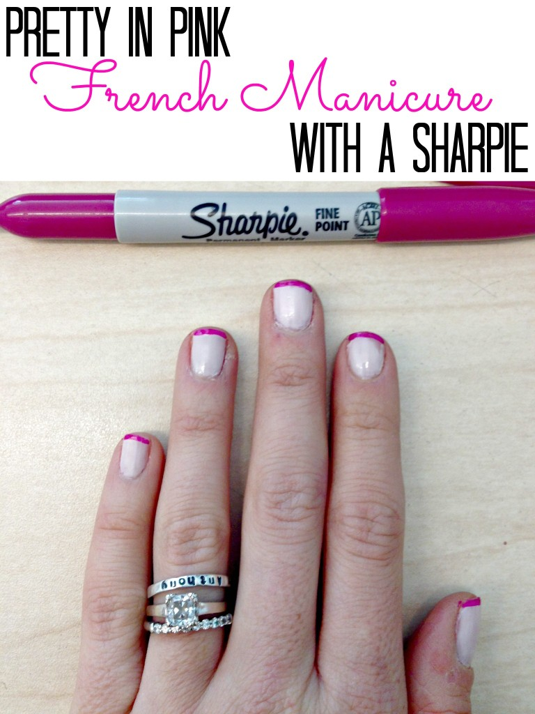 Pretty pink french manicure with a Sharpie!