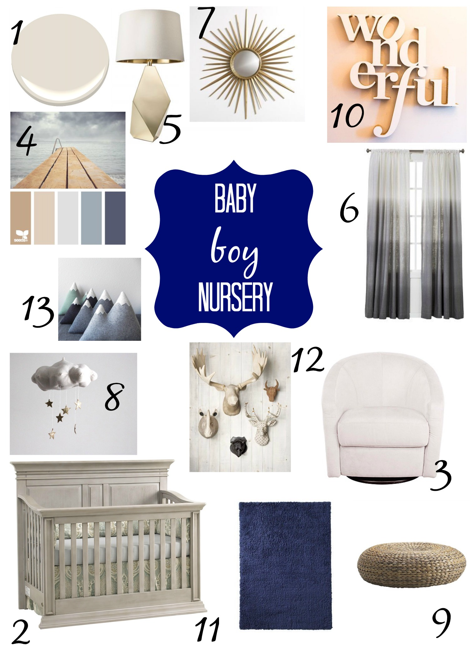 Blue And Gray Baby Boy Nursery